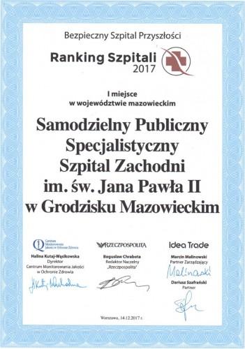 Ranking Szpitali 2017 - I miejsce w województwie mazowieckim – miniatura certyfikatu - powiększ zdjęcie