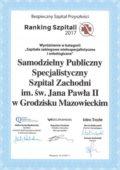 Ranking Szpitali 2017 - II miejsce w kategorii Sieć szpitali poziom II - miniatura certyfikatu - powiększ zdjęcie