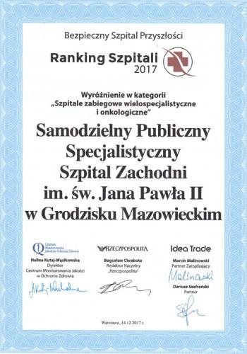 Ranking Szpitali 2017 - Wyróżnienie w kategorii