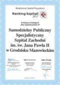 Ranking Szpitali 2017 - I miejsce w województwie mazowieckim - miniatura certyfikatu - powiększ zdjęcie