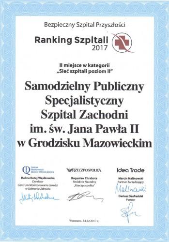 Ranking Szpitali 2017 - II miejsce w kategorii