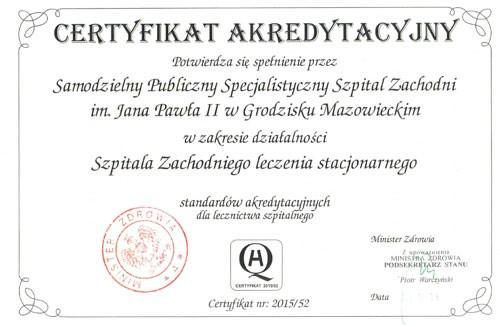 Certyfikat akredytacyjny – miniatura certyfikatu - powiększ zdjęcie