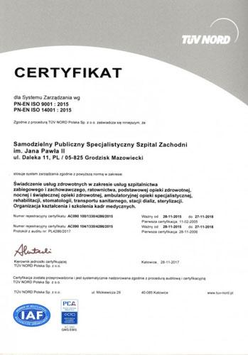 PN-EN ISO 9001:2015 PN-EN ISO 14001:2015