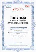 Certyfikat udziału w kampanii Twoja krew, moje życie - miniatura certyfikatu - powiększ zdjęcie