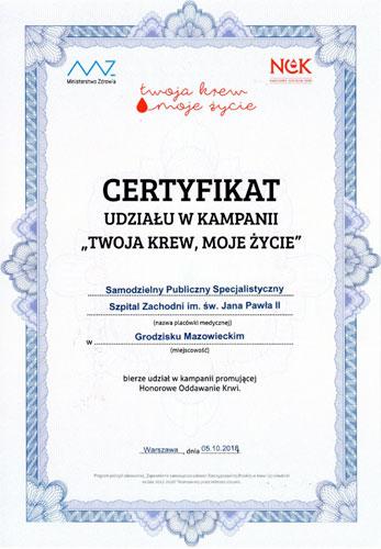 Certyfikat udziału w kampanii