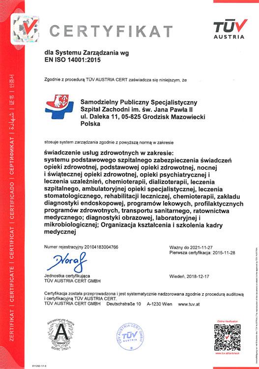 Certyfikat EN ISO 14001:2015 – miniatura certyfikatu - powiększ zdjęcie