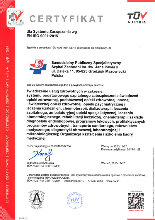 Certyfikat EN ISO 9001:2015 – miniatura certyfikatu - powiększ zdjęcie