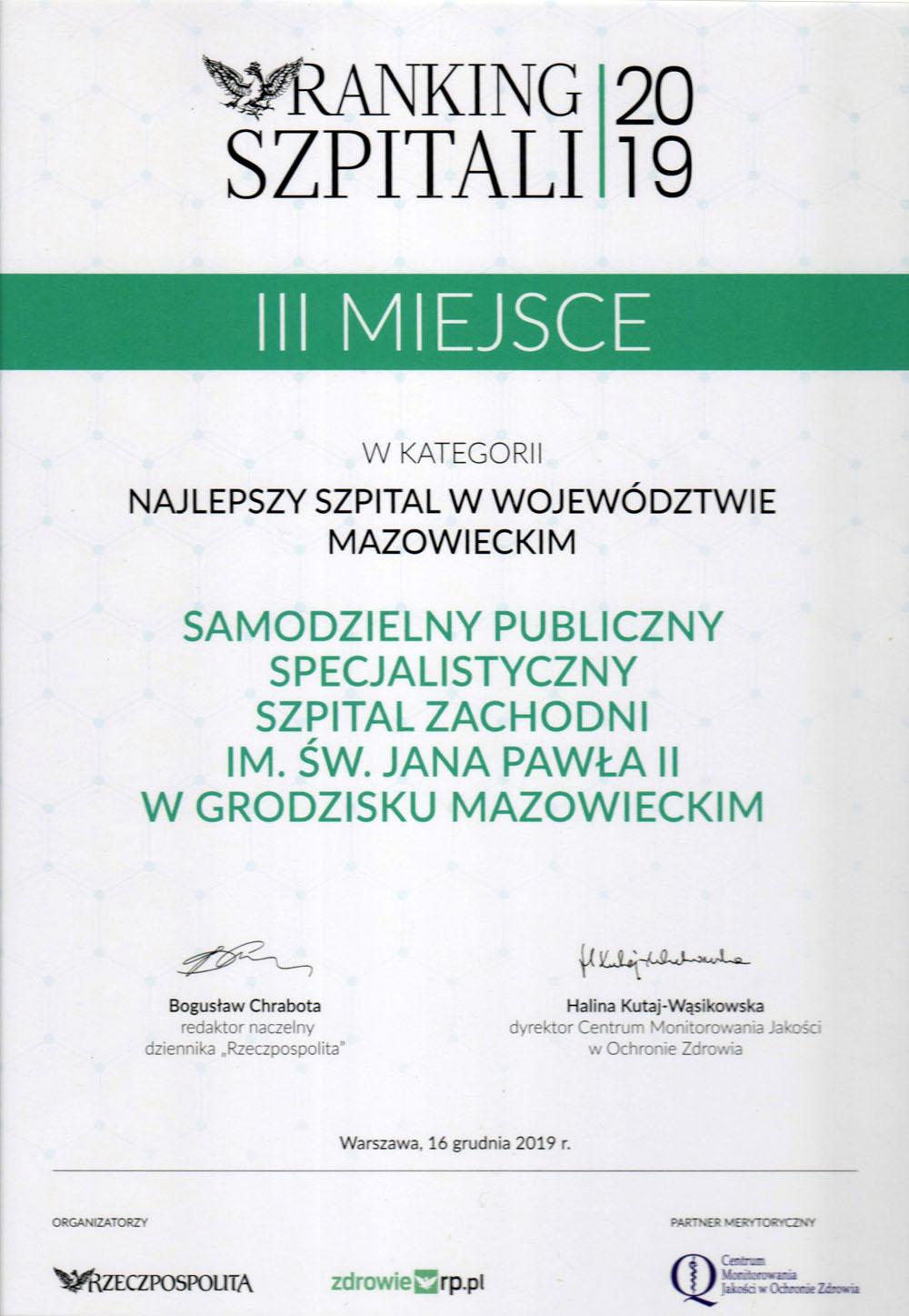 Ranking Szpitali 2019 - III miejsce w kategorii najlepszy szpital w województwie mazowieckim – miniatura certyfikatu - powiększ zdjęcie